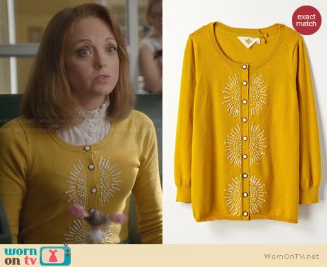 Anthropologie French Knot Cardigan in Gold worn by Jayma Mays on Glee