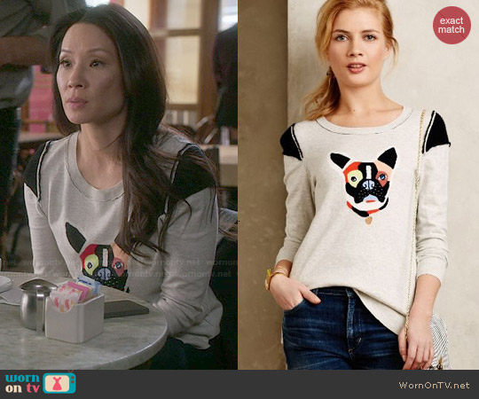 Anthropologie Frenchie Pullover worn by Lucy Liu on Elementary