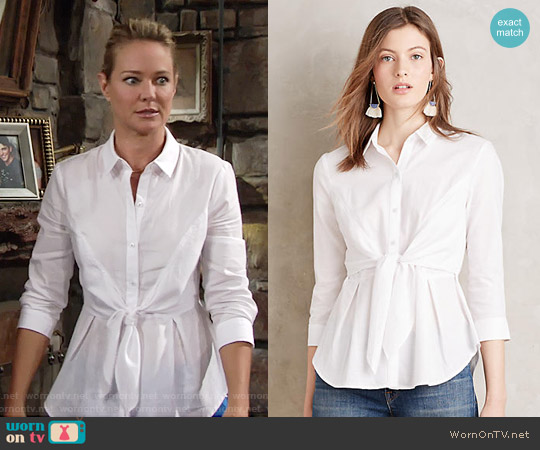 Anthropologie HD in Paris Tie Front Buttondown worn by Sharon Case on The Young & the Restless