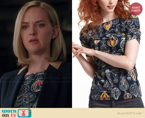 Anthropologie Here & There Tee in Offbeat worn by Jess Weixler on The Good Wife