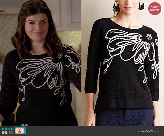 Anthropologie Ivory Bloom Pullover worn by Casey Wilson on Marry Me
