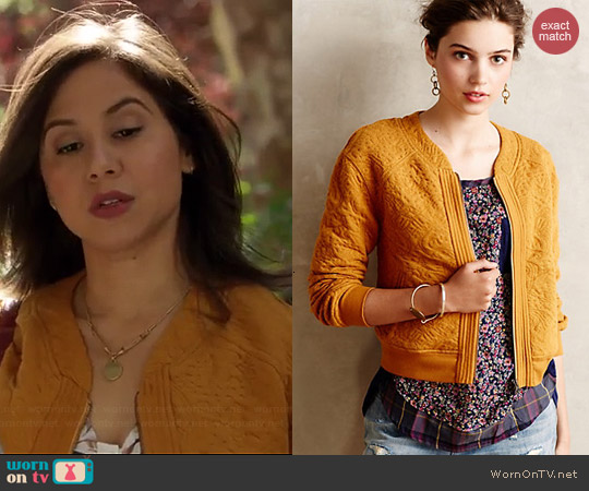 Anthropologie Jacquard Bomber Jacket worn by Chloe Wepper on Manhattan Love Story