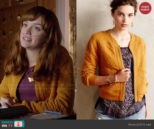 Anthropologie Jacquard Bomber Jacket from worn by Olivia Cooke on Bates Motel