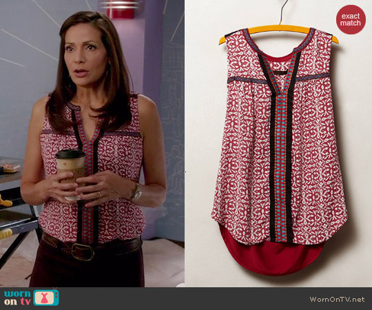 Anthropologie Kakali Tank in Red Motif worn by Constance Marie on Switched at Birth