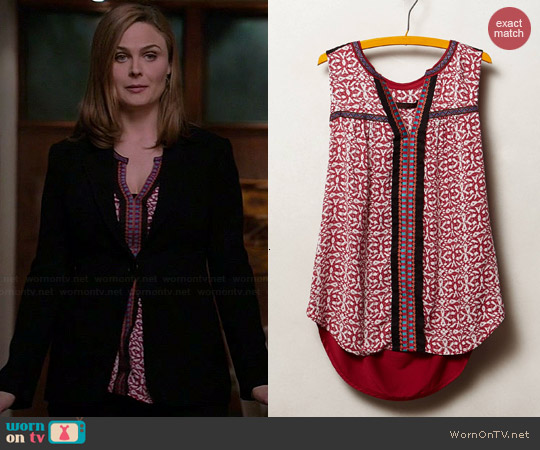 Anthropologie Kakali Tank worn by Emily Deschanel on Bones