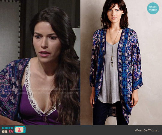 Anthropologie Kawachi Gardens Kimono worn by Marisa Sierras on The Young & the Restless