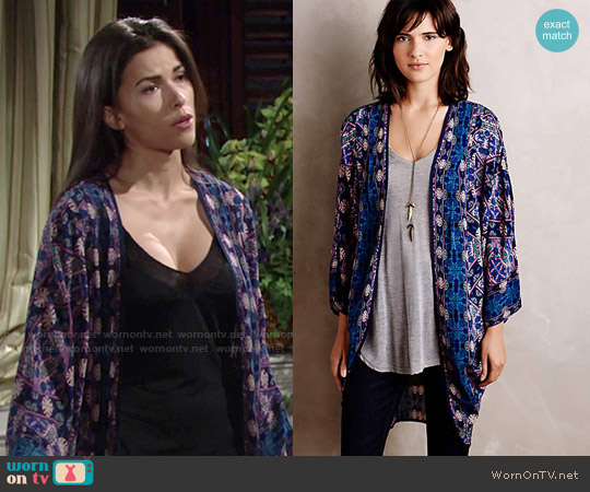 Anthropologie Kawachi Gardens Kimono worn by Sofia Pernas on The Young & the Restless