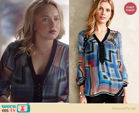 Anthropologie Labyrinth Peasant Blouse worn by Hayden Panettiere on Nashville