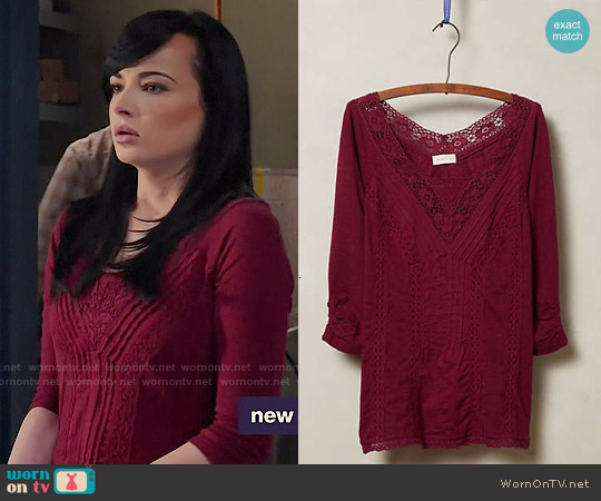 Anthropologie Lace Medley Top worn by Ashley Rickards on Awkward