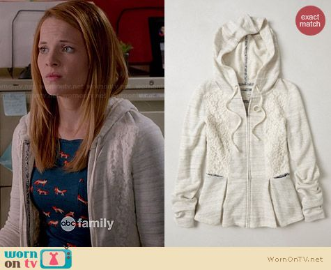 Anthropologie Laced Peplum Hoodie worn by Katie Leclerc on Switched at Birth
