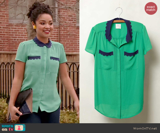 Anthropologie Laser Cut Lace Blouse worn by Aisha Dee on Chasing Life