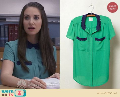 Anthropologie Lasercut Lace Blouse in Green worn by Alison Brie on Community