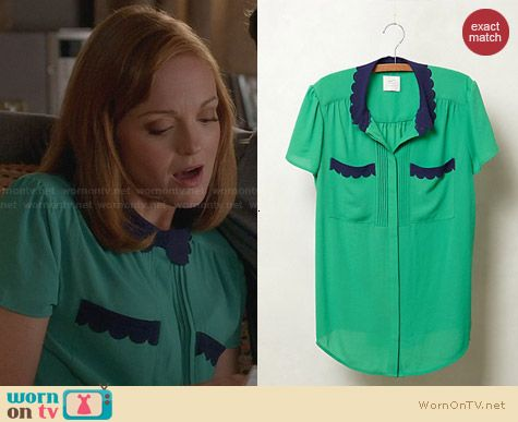 Anthropologie Lasercut Lace Blouse worn by Jayma Mays on Glee
