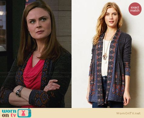 Anthropologie Laurette Cardigan worn by Emily Deschanel on Bones