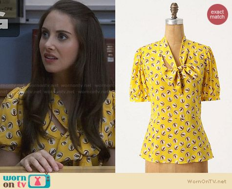 Anthropologie Lemon Liftoff Blouse worn by Alison Brie on Community