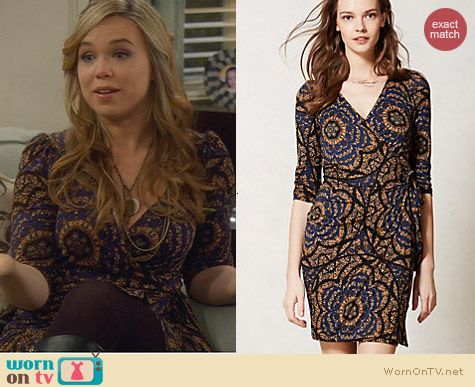 Anthropologie Lena Wrap Dress in Navy worn by Amanda Fuller on Last Man Standing