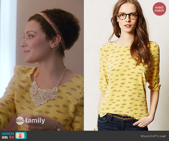 Anthropologie Linosa Top in Yellow worn by Italia Ricci on Chasing Life