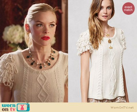 Anthropologie Looped Epaulette Pullover worn by Jaime King on Hart of Dixie