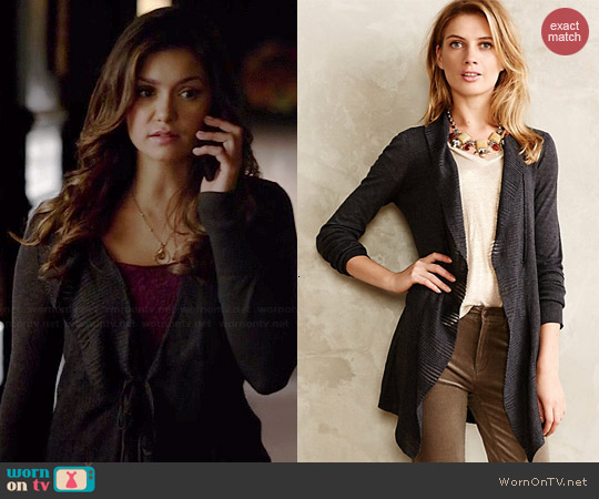 Anthropologie Lotta Ruffle Wrap worn by Nina Dobrev on The Vampire Diaries