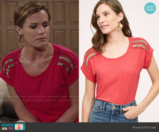Anthropologie Macrame Sleeve Tee in Red worn by Melissa Claire Egan on The Young & the Restless