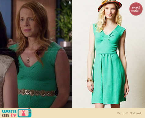 Anthropologie Matilde Dress in Green worn by Katie Leclerc on Switched at Birth