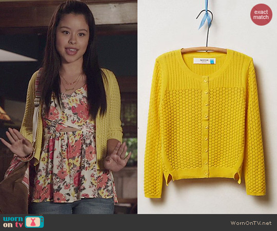 Anthropologie Midi Pointelle Cable Cardigan worn by Cierra Ramirez on The Fosters