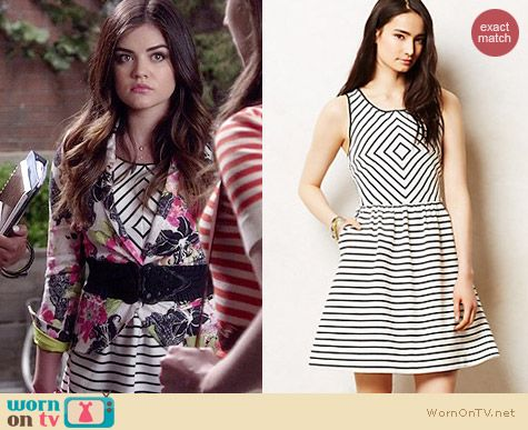 Anthropologie Mitred Stripe Dress worn by Lucy Hale on PLL