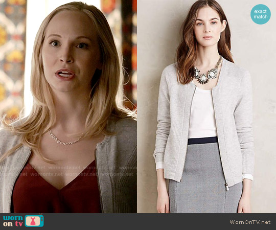 Anthropologie Moth Zip-Front Cashmere Cardigan worn by Candice Accola on The Vampire Diaries