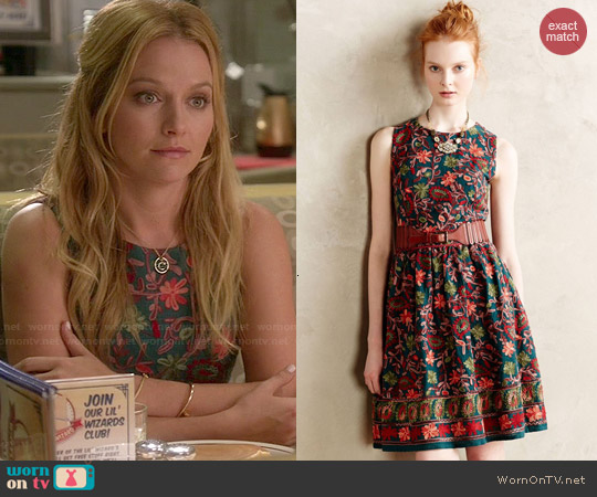 Anthropologie Needlepoint Garden Dress worn by Becki Newton on Weird Loners