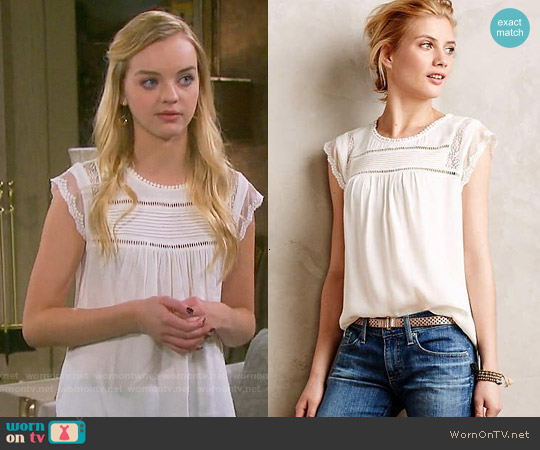 Anthropologie Nellore Blouse worn by Olivia Rose Keegan on Days of our Lives