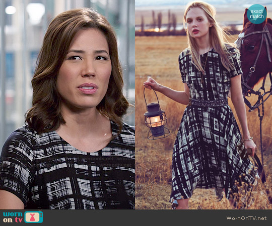 Anthropologie Painted Plaid Dress by Corey Lynn Calter worn by Michaela Conlin on Bones