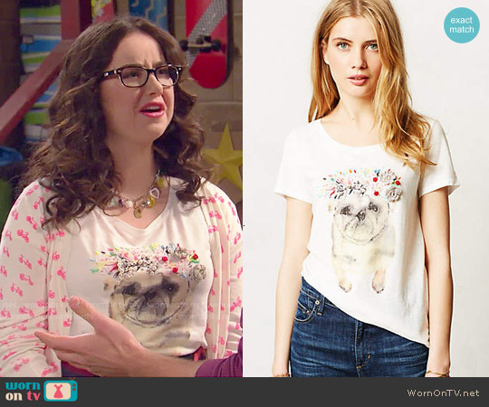 Anthropologie Painted Pug Tee worn by Sarah Gilman on IDDI