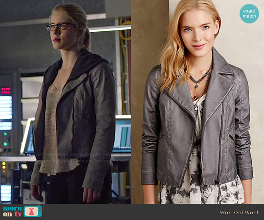 Anthropologie Perfect Vegan Leather Jacket worn by Felicity Smoak on Arrow