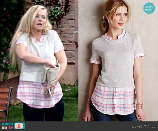 Anthropologie Picnic Plaid Layered Sweatshirt in Pink worn by Sharon Case on The Young & the Restless