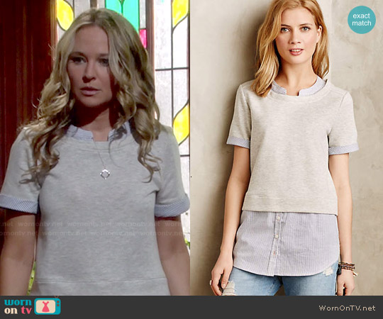 Anthropologie Picnic Plaid Layered Sweatshirt worn by Sharon Case on The Young & the Restless