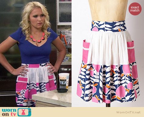 Anthropologie Pink Lady Apron worn by Emily Osment on Young & Hungry