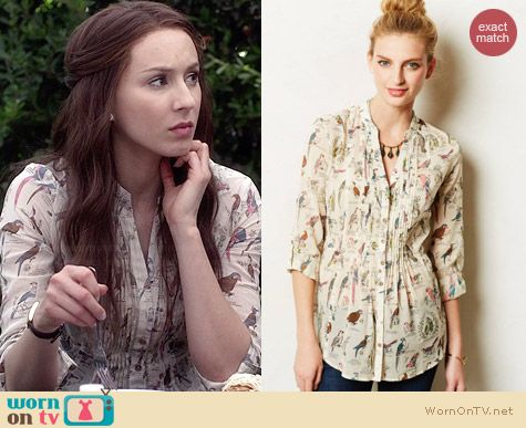 Anthropologie Pintucked Buttondown in Neutral Motif worn by Troian Bellisario on PLL