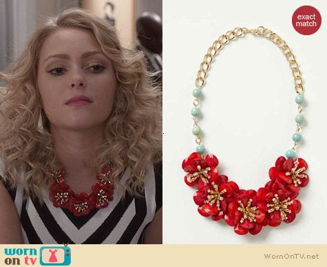 Anthropologie Pinwheel Blossoms Bib Necklace worn by AnnaSophia Robb on The Carrie Diaries