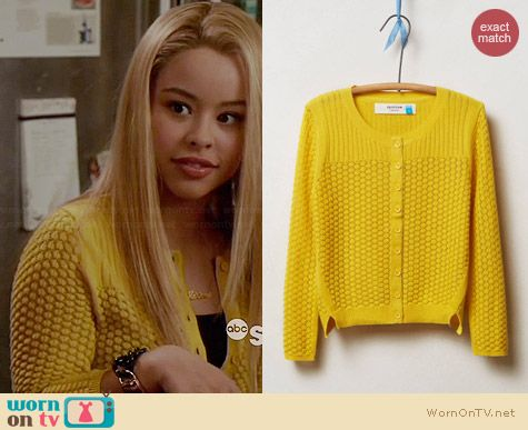 Anthropologie Pointelle Cable Cardigan in Gold worn by Cierra Ramirez on The Fosters