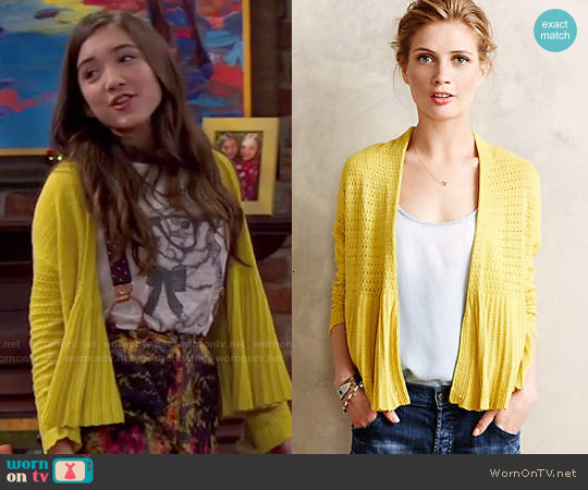 Anthropologie Pointelle Peplum Cardigan worn by Riley Matthews on Girl Meets World