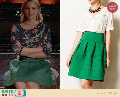 Anthropologie Ponte Bell Skirt worn by Dianna Agron on Glee