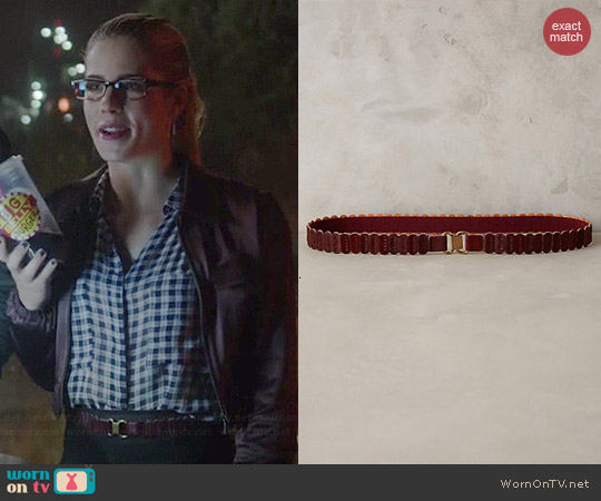 Anthropologie Recitation Calf Hair Belt worn by Felicity Smoak on The Flash