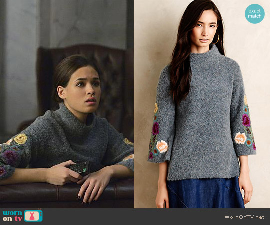Anthropologie Sleeping on Snow Rosevine Sweater Tunic worn by Nicole Gale Anderson on Beauty & the Beast