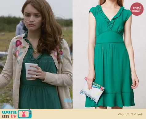 Anthropologie Ruffled Della Dress worn by Olivia Cooke on Bates Motel