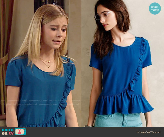Anthropologie Ruffled Silk Tee worn by G. Hannelius on Dog with a Blog