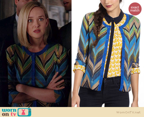 Anthropologie Seared Chevrons Cardigan worn by Jess Weixler on The Good Wife