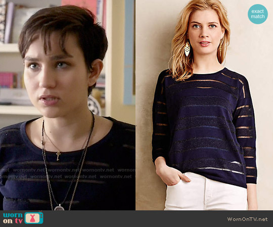 Anthropologie Sheer Stripe Pullover worn by Bex Taylor-Klaus on Scream
