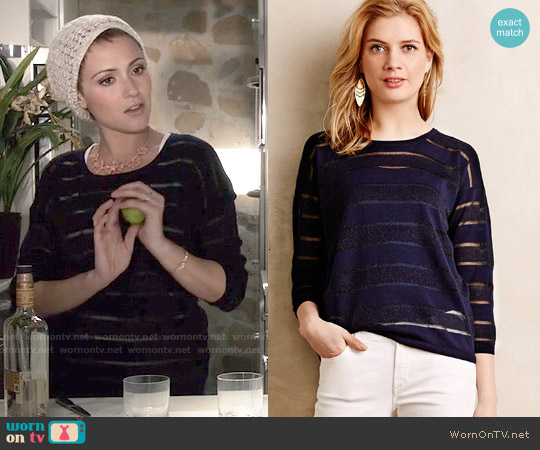 Anthropologie Sheer Stripe Pullover worn by Italia Ricci on Chasing Life