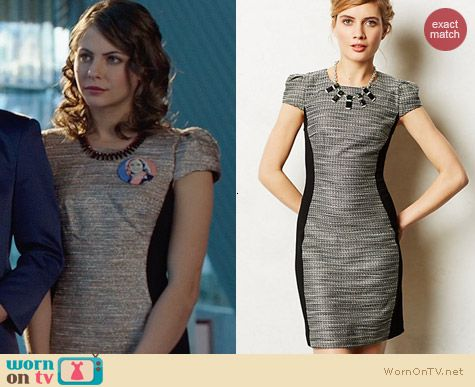 Anthropologie Shimmered Hourglass Dress worn by Willa Holland on Arrow