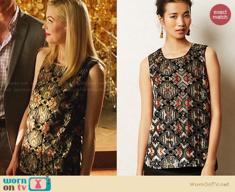 Anthropologie Shimmered Velvet Tank worn by Jaime King on Hart of Dixie